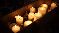 Lots of candles lit for Christmas Stock Footage