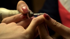 Manicurist makes the manicure girl Stock Footage