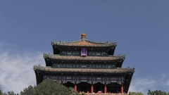 WS Chinese Temple in Jing Shan Park / Beijing, China Stock Footage