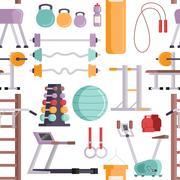 Fitness sport gym seamless pattern Stock Illustration