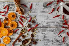 Spices for heath and herb ingredient cooking on wooden table. Flat lay Stock Photos