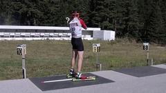 Man on a firing line at Biathlon summer training centar Stock Footage