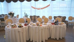 Frugal wedding table during wedding celebrations Stock Footage