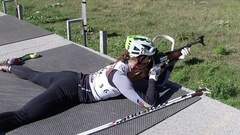 Summer training on a firing line at Biathlon centar Stock Footage