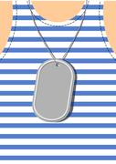 Army Soldier badge on chest. Male torso. Military clothing Stock Illustration