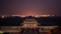 MS HA Cars driving through Forbidden City's gate at night / Beijing, China Stock Footage