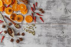 Spicy Christmas background. ingredients for cooking baking Stock Photos