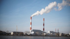 Smoking power plant at sunny day, white vapor from red tube, time-lapse Stock Footage