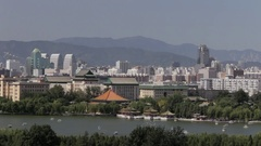 WS Cityscape with Beihai Park in foreground / Beijing, China Stock Footage