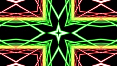 Red Green Pulsing Intricate Symmetry Pattern Abstract Motion Background Loop Stock Footage