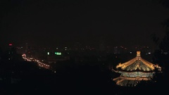 WS PAN Cityscape with temple's roof in foreground at night/ Beijing, China Stock Footage