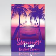 Tropical Island with Palms - Vector Illustration Piirros
