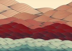 Abstract Hills, Dunes Landscape Background - Vector Illustration Stock Illustration