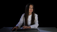 Woman with haughty communicate in online chat. Emotions. Studio Stock Footage