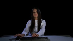 Businesswoman tired of waiting for the file download. Emotions. Studio Stock Footage