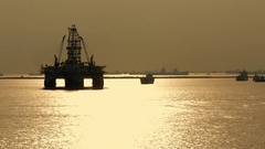 WS PAN Oil rig at sea / Singapore Stock Footage