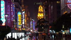 Nanjing Road is the busy main shopping district of Shanghai Stock Footage