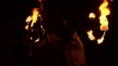Man Fire Out of His Mouth and playing. Slow Motion Stock Footage