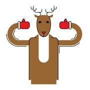 Deer Santa isolated. Christmas animal. Beast for new year Piirros