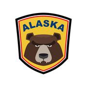 Alaska Grizzly mascot. Bear emblem sign. Wild animal logo for Alaska Stock Illustration