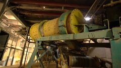 View of operating equipment at old brick plant Stock Footage