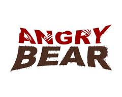 Angry Bear emblem. Bite letters. fur typography Stock Illustration