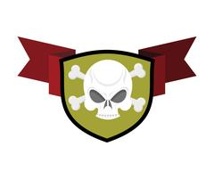Skull and shield. Crossed bones and skeleton head emblem. Heraldry sign. Stock Illustration