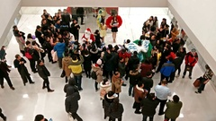 People attend Christmas activity in the Wangfujing shopping mall, Beijing Stock Footage