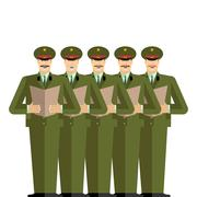Military Choir. Officers sing songs. war band. Army musicians Stock Illustration