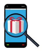 Smartphone searching a gift box Stock Illustration