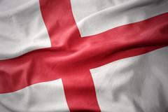 Waving colorful flag of england. Stock Photos