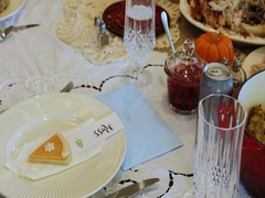Thanksgiving dinner table food pan DCI 4K Stock Footage