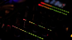 CU Lights Flashing on Mixing Board / Singapore Stock Footage