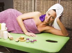 Stock photo attractive lady getting spa treatment in salon, heal Stock Photos