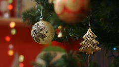 Beautifull ball hang on Christmas tree, New Year Stock Footage