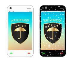 Smartphone with waterproof logo on screen Stock Illustration