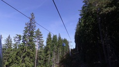 Cable Car Transportation Rope Way Over Mountain Forest Trees Stock Footage