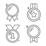 Medals Line Icons Stock Illustration