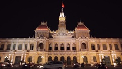 WS LA LD Traffic in front of Ho Chi Minh City Hall at Night / Ho Chi Minh, Stock Footage