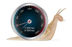 Smartphone with speed meter and snail Stock Illustration