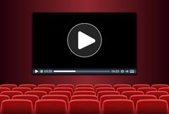 Rows of red seats in front of multimedia playing on a screen Stock Illustration