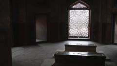 WS PAN Interior of Humayun Tomb / Delhi, India Stock Footage