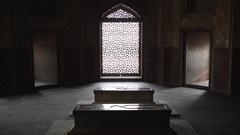 WS Interior of Humayun Tomb / Delhi, India Stock Footage