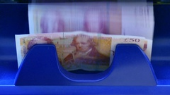 British Pound notes counted by a Currency counting machine Stock Footage