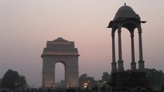 WS India Gate at sunset / New Delhi, India Stock Footage