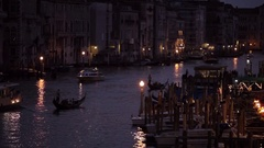 WS LD Night View of Boats Floating down Grand Canal / Venice, Italy Stock Footage