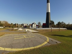 Tybee Island Light Station Aerial Ascent Stock Footage
