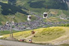 Cabin lift in mountain bikepark Mottolino on 3 August 2016 in Livigno, Italy. Stock Photos