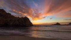 Ocean sunset. California. Timelapse. Night coast. Stock Footage