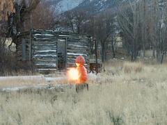 Exploding pumpkins rural farm fun slow motion DCI 4K Stock Footage